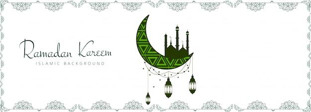 Bela ramadan kareem banner design decorativo Vetor grátis