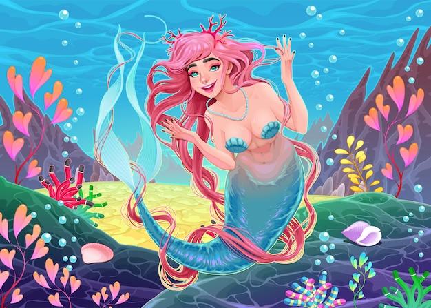 Bela sereia subaquática com cabelo rosa e coral Vetor Premium