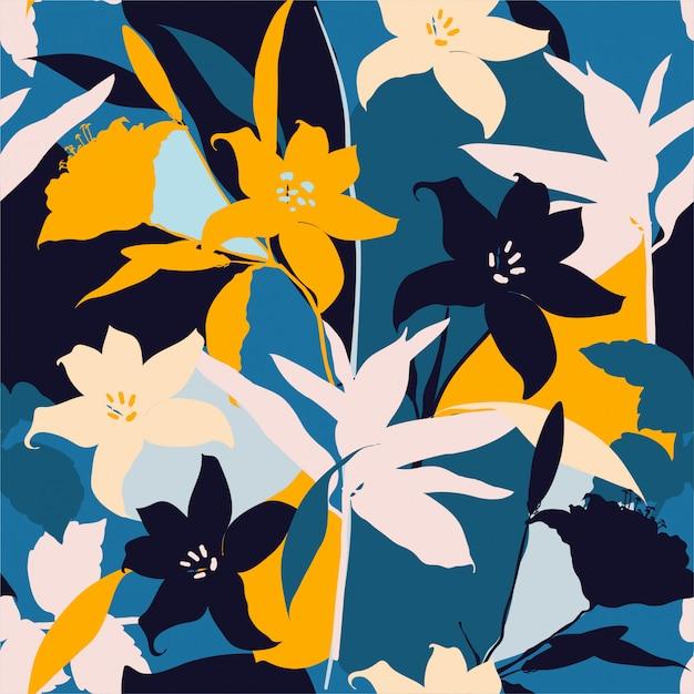 Bela silhueta retrô de flores de lírio abstrata sem costura padrão Vetor Premium