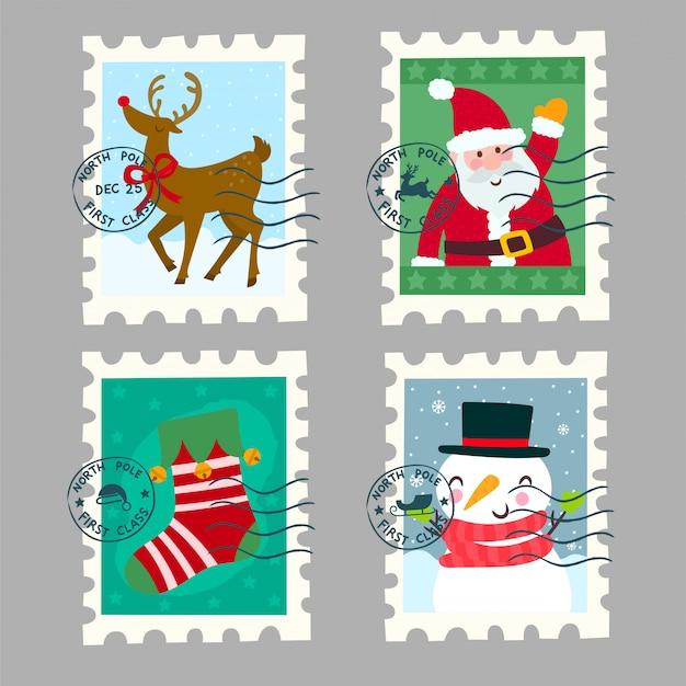 Belas coleções de carimbos postais de natal Vetor Premium