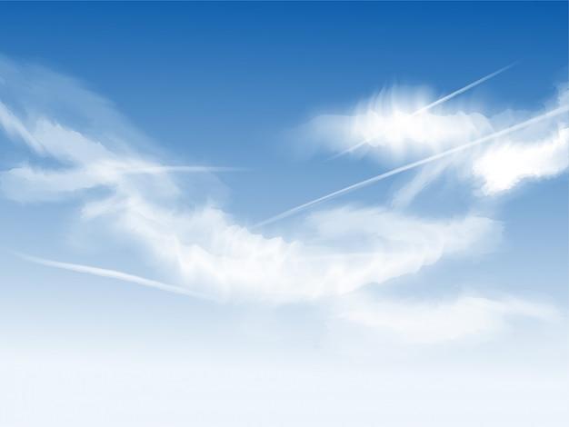 Belas nuvens no fundo do céu azul. Vetor Premium