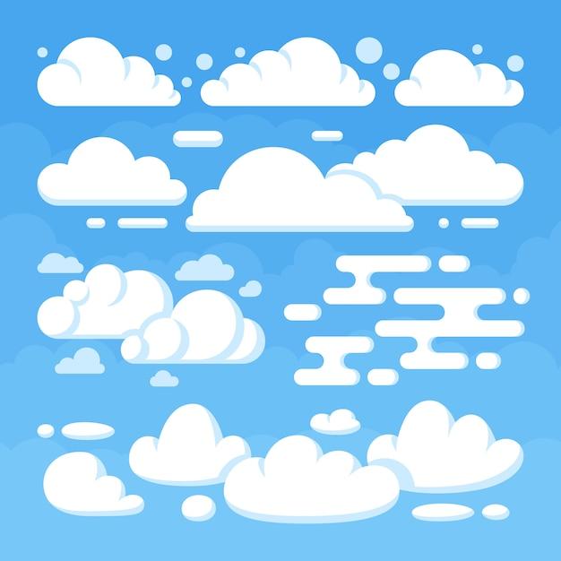 Belas nuvens planas no céu azul. céu azul do tempo com nuvem branca. ilustração vetorial Vetor Premium