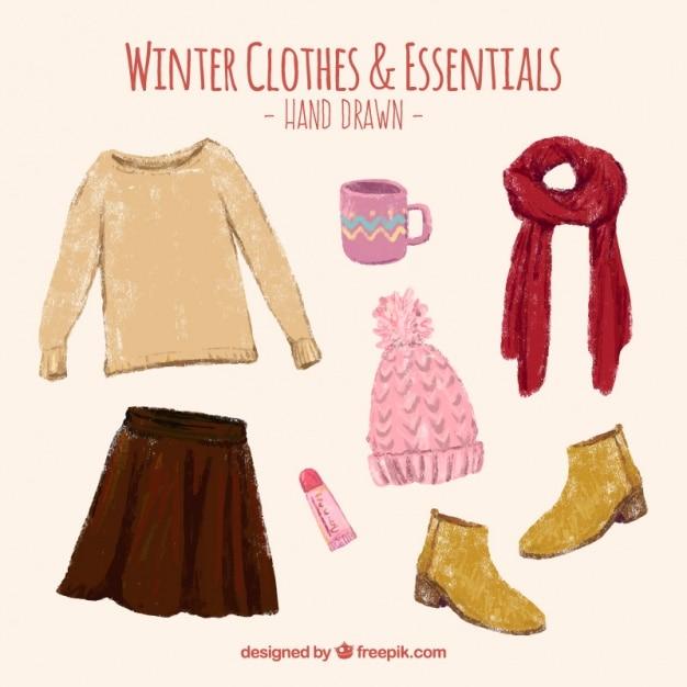 Belas pintados à mão roupas de inverno e acessórios conjunto Vetor grátis