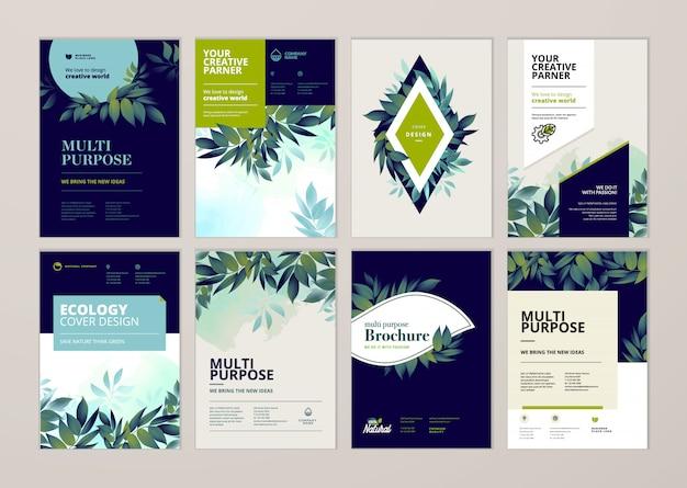 Beleza anual relatório capa modelo conjunto de design Vetor Premium