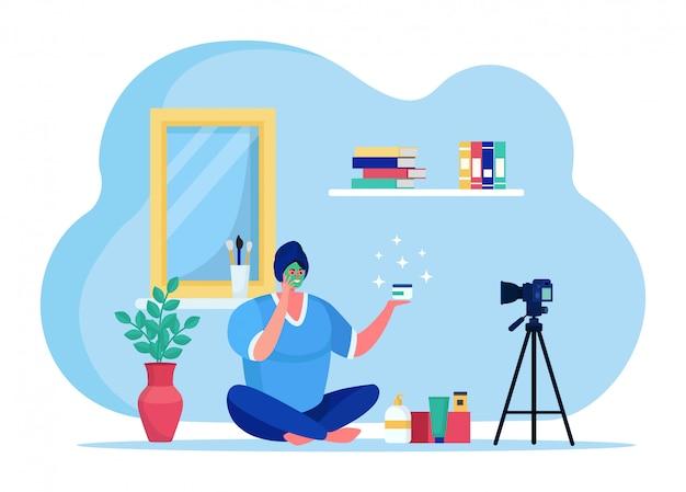 Beleza blogging streaming on-line, personagem de moda moda anfitrião de transmissão na internet isolado na ilustração branca, plana. Vetor Premium