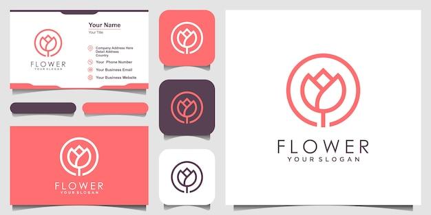 Beleza elegante minimalista flor rosa com estilo de arte linha. logo use cosméticos, yoga e inspiração de logotipo de spa. conjunto de design de logotipo e cartão de visita Vetor Premium