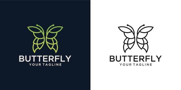 Beleza minimalista da arte da linha borboleta, estilo de spa de luxo. design de logotipo Vetor Premium