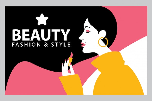 Beleza moda e estilo Vetor Premium