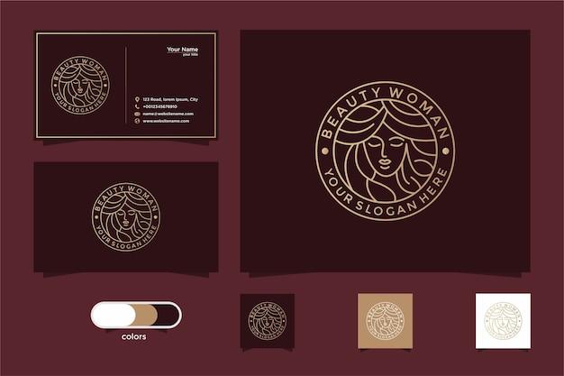 Beleza mulheres linha arte logo design e cartão de visita. bom uso do logotipo de salão e spa Vetor Premium