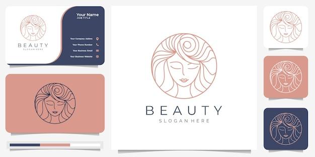 Beleza mulheres logotipo design inspiração e cartão de visita. beleza, cuidados com a pele, salões de beleza, spa, estilo de cabelo, círculo, minimalista elegante. com estilo de arte de linha. Vetor Premium