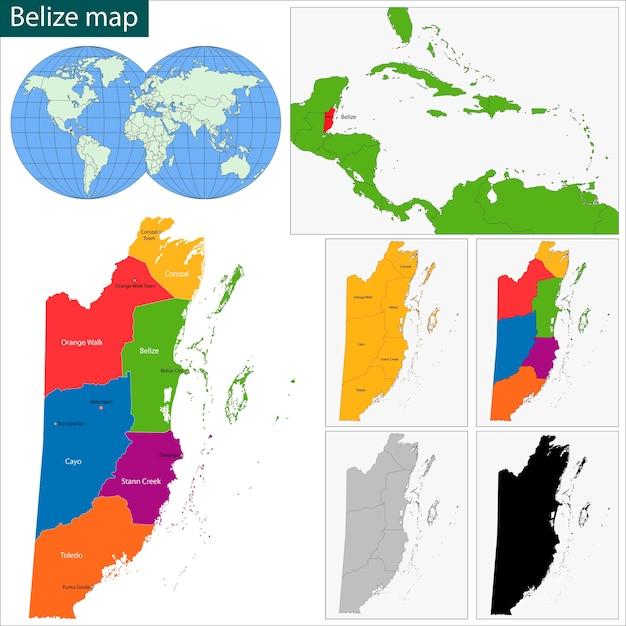 Belize mapa Vetor Premium