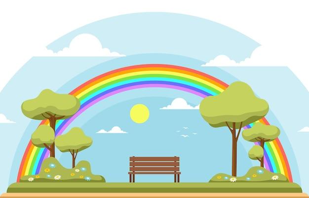 Belo arco-íris no parque verão natureza paisagem ilustração Vetor Premium