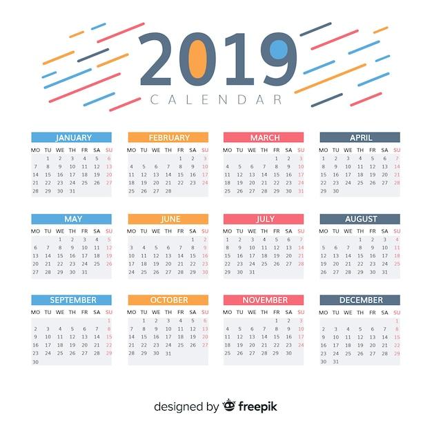 Belo calendário de 2019 Vetor grátis