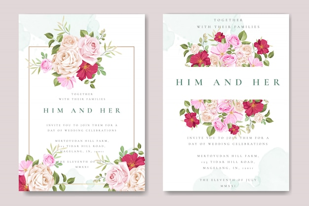 Belo cartão de convite de casamento com modelo de rosas coloridas Vetor Premium