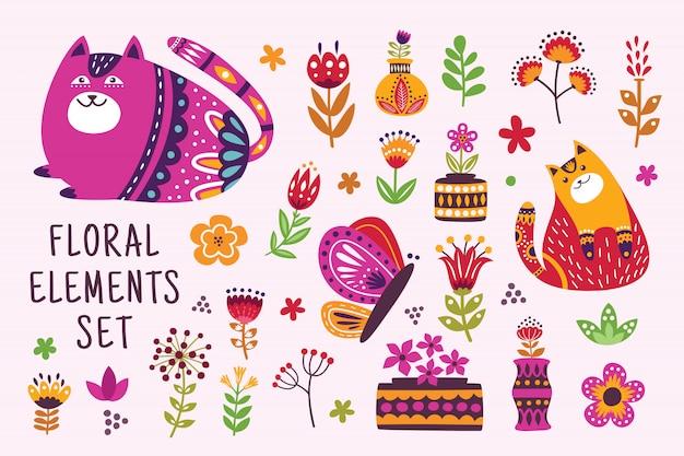 Belo conjunto de elementos florais Vetor Premium