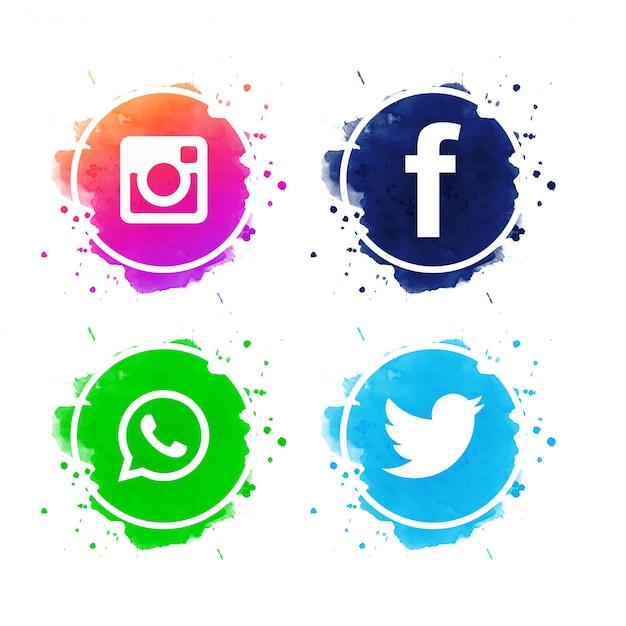 Belo conjunto de ícones de mídias sociais vector Vetor grátis