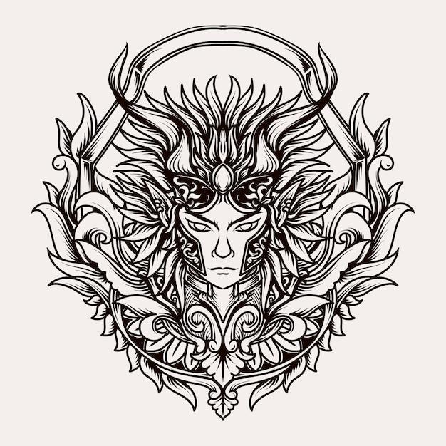 Belo desenho feito à mão ornamento de gravura de príncipe demoníaco Vetor Premium