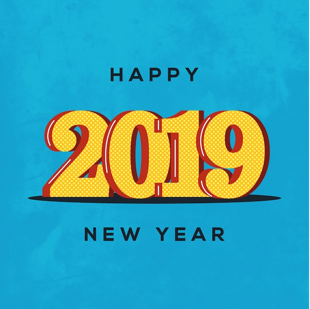 Belo design de feliz ano novo 2019 no fundo brilhante Vetor Premium