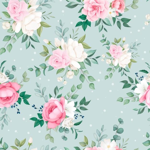 Belo design de padrão floral suave e sem costura Vetor grátis