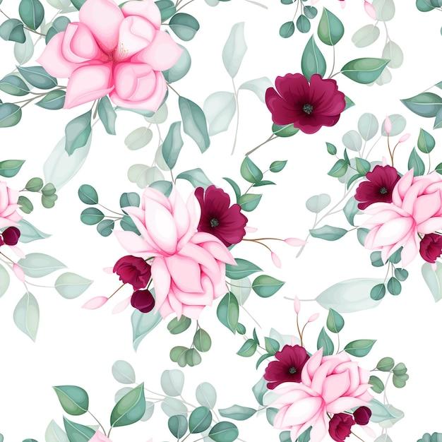 Belo design floral sem costura padrão Vetor grátis