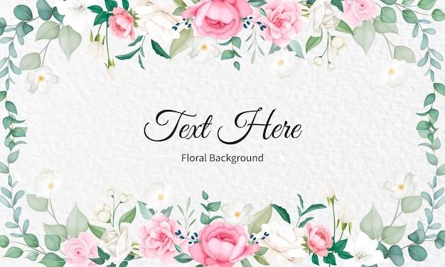 Belo design floral suave e folhas Vetor Premium