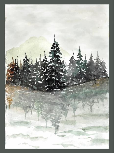 Belo lago com reflexo de floresta de pinheiros na água pintura em aquarela Vetor Premium