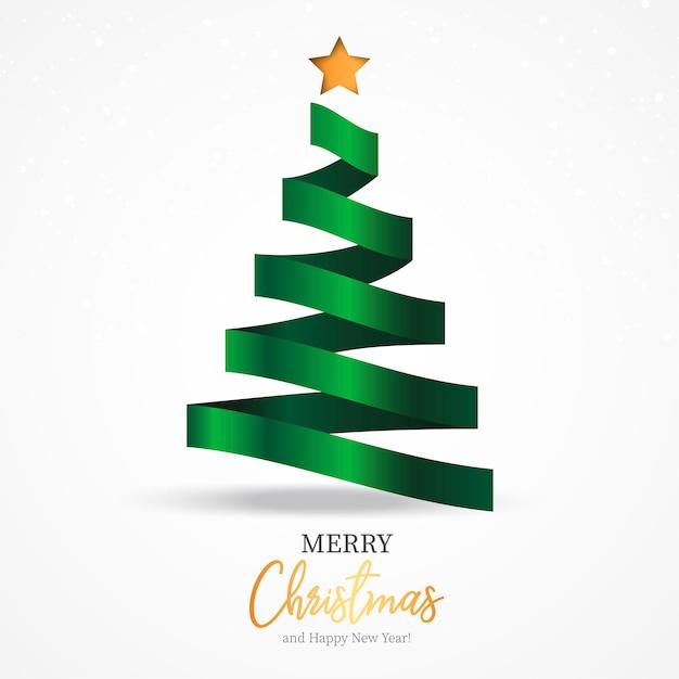Belo modelo de cartão de natal com fita elegante como árvore de natal Vetor grátis