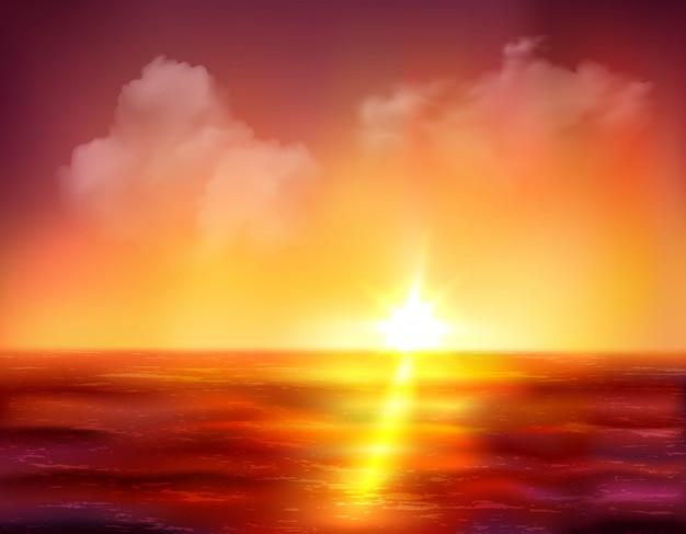 Belo nascer do sol sobre o oceano com sol dourado e ondas vermelhas escuras Vetor grátis