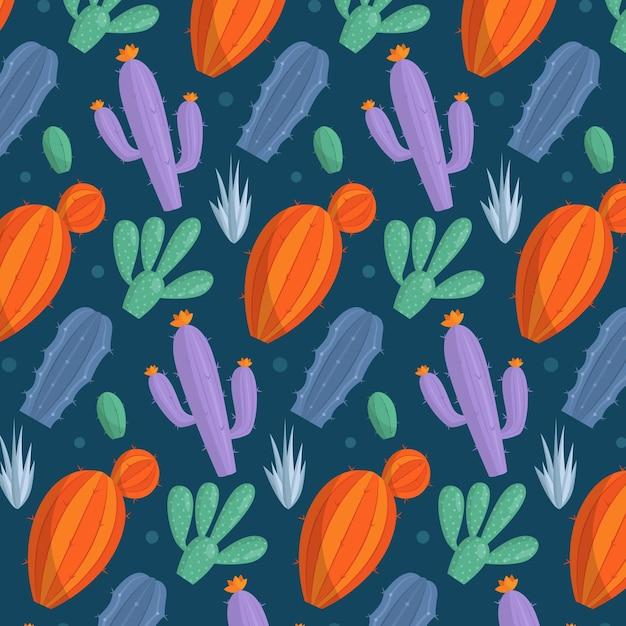 Belo padrão com cacto colorido Vetor grátis