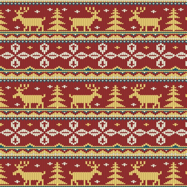 Belo padrão de natal de malha Vetor grátis