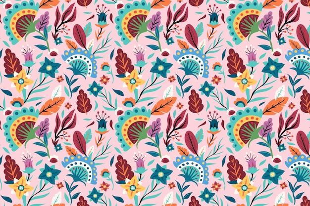 Belo padrão floral exótico Vetor grátis