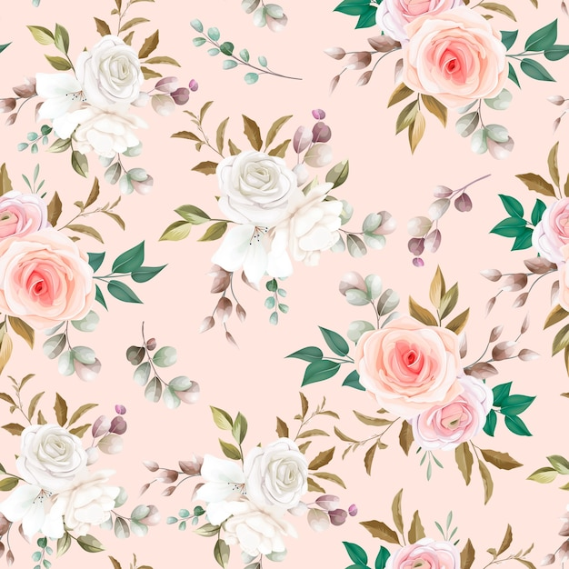 Belo padrão floral sem costura Vetor grátis