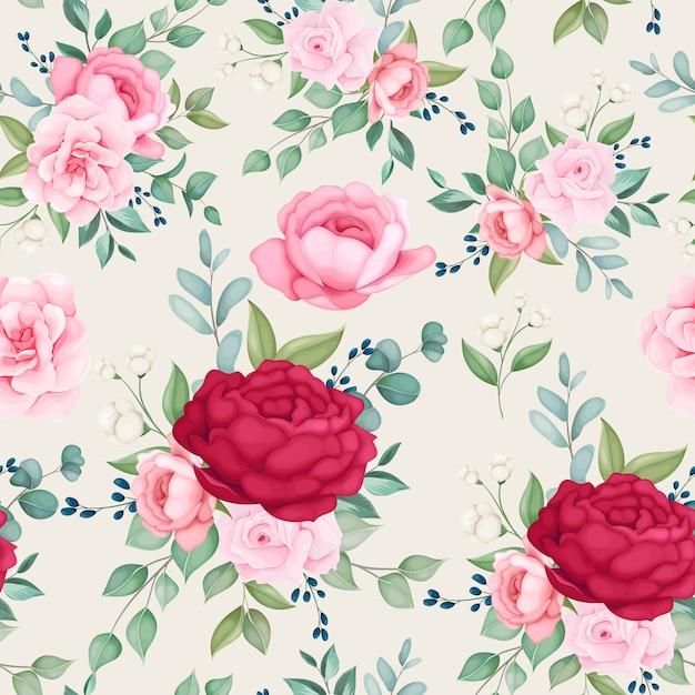 Belo padrão sem emenda florescendo floral Vetor grátis