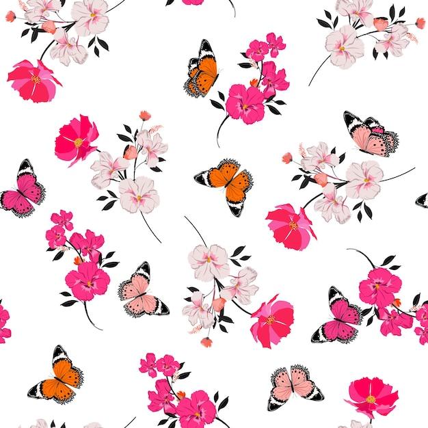 Belo padrão sem emenda florescendo flores rosa e design de borboleta voadora para moda, tecido, papel de parede e todas as estampas em fundo branco Vetor Premium