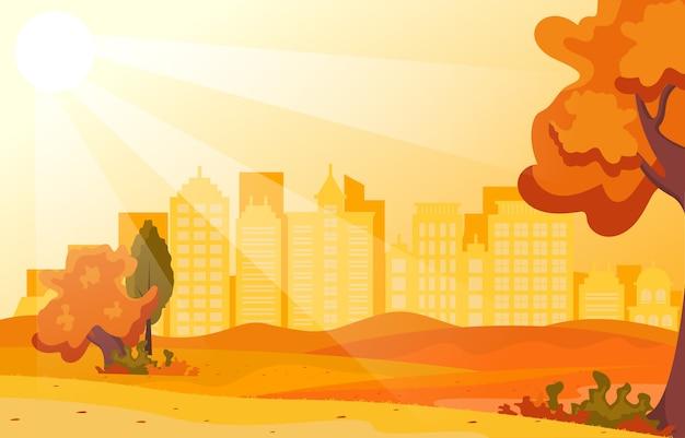 Belo parque da cidade no outono outono com edifício ilustração skyline Vetor Premium