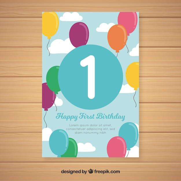 Belo primeiro design de cartão de aniversário Vetor grátis