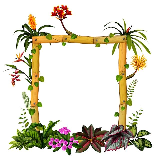 Belo quadro botânico de madeira com a flor Vetor Premium
