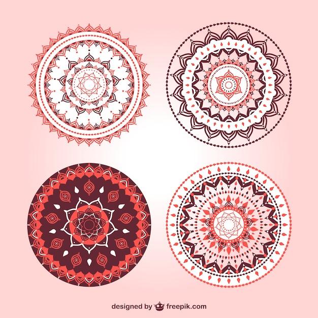 Belos ornamentos mandala definir Vetor grátis