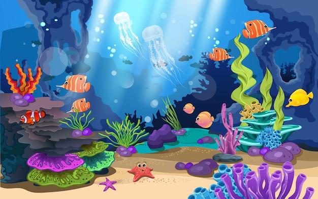 Belos recifes de coral e peixes no mar Vetor Premium
