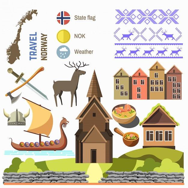 Bem-vindo à coleção de símbolos tradicionais da noruega. Vetor Premium