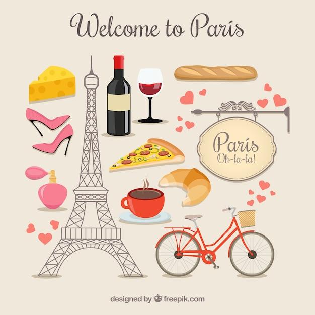 Bem-vindo a elementos paris Vetor grátis