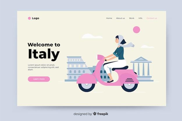 Bem-vindo à página de destino colorida da itália Vetor grátis