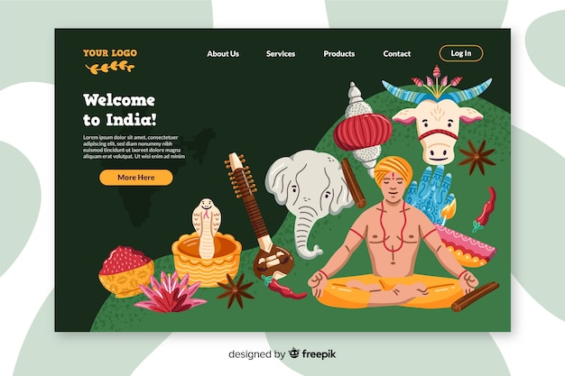Bem-vindo à página de destino colorida india Vetor grátis