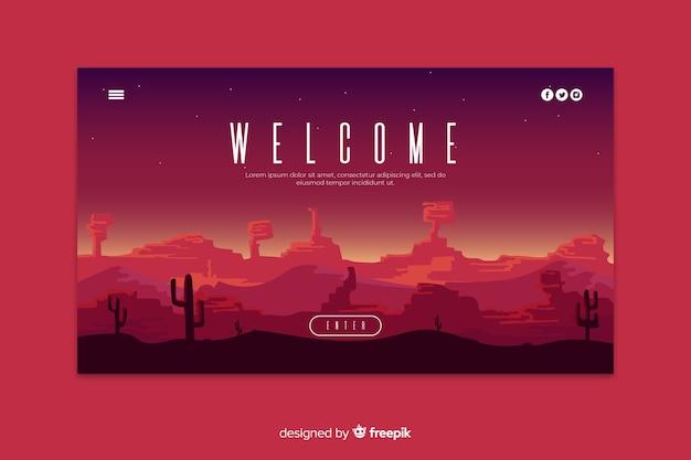 Bem-vindo à página de destino com paisagem gradiente Vetor grátis