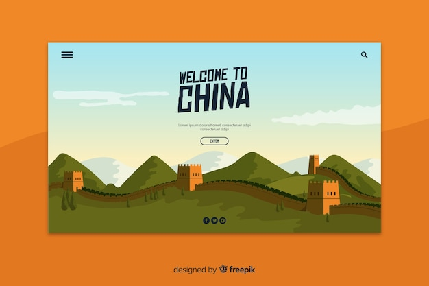 Bem-vindo à página de destino da china Vetor grátis