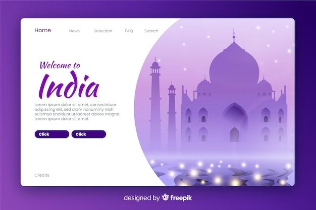 Bem-vindo à página de destino da índia Vetor grátis