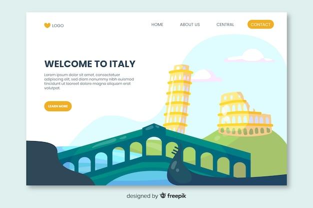 Bem-vindo à página de destino da itália Vetor grátis