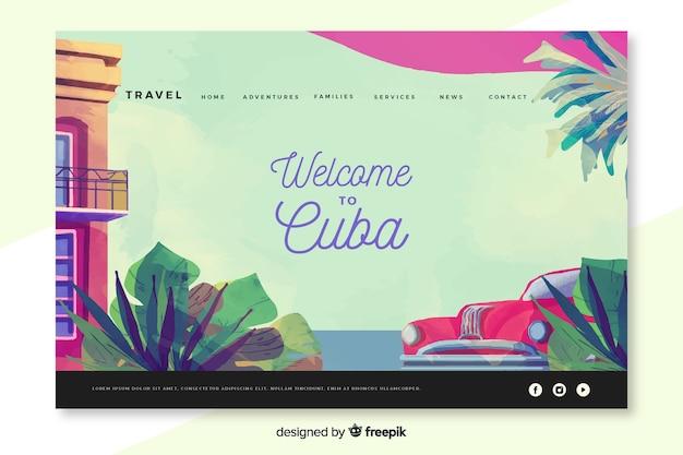 Bem-vindo à página de destino de cuba Vetor grátis