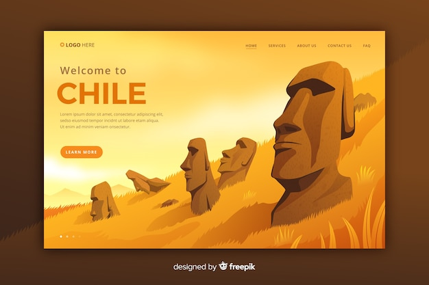 Bem-vindo à página de destino do chile Vetor grátis
