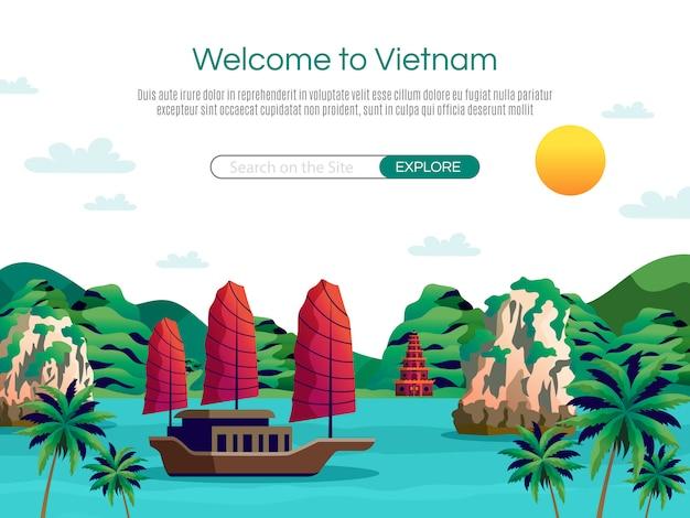Bem-vindo à página de destino do vietnã e modelo da web Vetor grátis